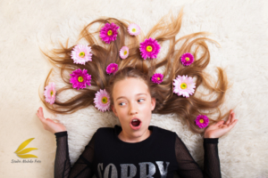 dziecko, dziewczyna, nastolatka, sesja zdjęciowa, kwiaty
